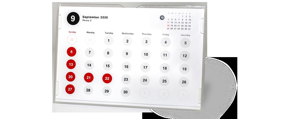 B6横型プラケース入り卓上カレンダー