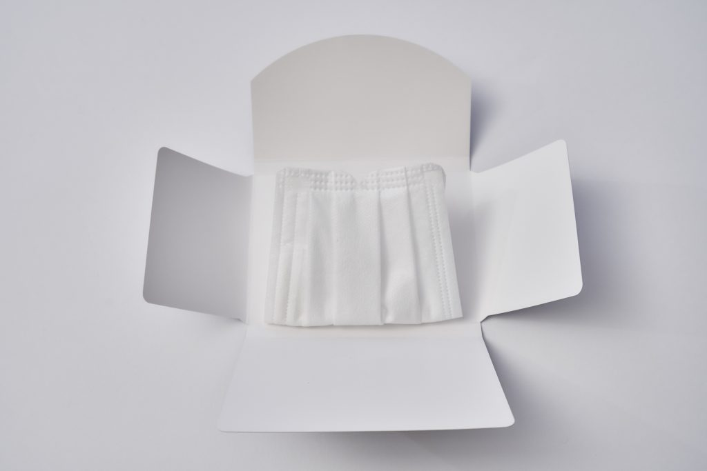紙製マスクケース(抗菌タイプ)に折りたたみ型が登場